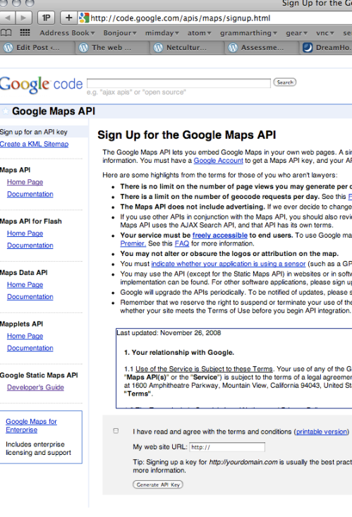 signing on for a google maps API key is typical of the sorts of sign on you have to do to use third party services.